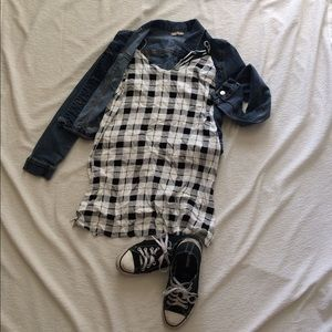 Kendall & Kylie Black and White plaid slip dress
